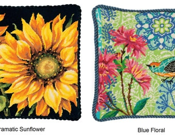 Dimensions Needlepoint Kit - Dramatic Sunflower (71-20083) or Blue Floral (71-20085)