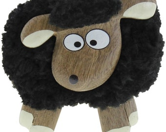 Dublin Gift Fluffy Sheep Magnet Shocked, Black, #3517