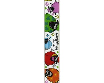 """Plastic Wacky Woollies Style 12"""" Ruler With Multi-Coloured Sheep Design ***Free Shipping***"""