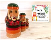 Santa Claus Nesting Doll, Christmas Nesting Dolls, Mordovia, Russia, Folk Art Wooden Doll, Unique Holiday Gift, Excellent Condition
