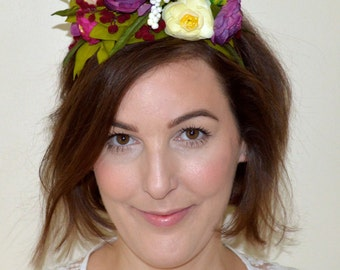 Bohemian Bridal Flower Crown. Woodland Flower Crown. Wedding Hair Crown. Bridal Multi-Color Flower Headband. Silk Flower Hair Accessory.