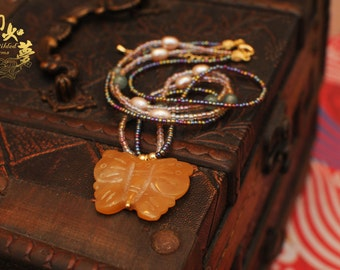 Honeyed Butterfly Donglin Yellow Jade Necklace with Seed Beads