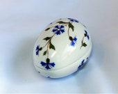 Vintage Chamart Limoges France Blue Flower Porcelain Egg Shaped Trinket Box