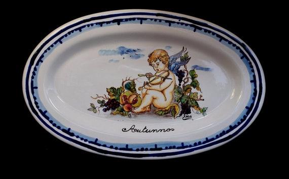 Vintage italian art pottery ceramiche ima montelupo italy oval etsy