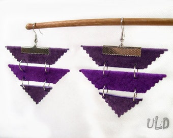 Handmade Violet Leather Earrings Uniqueleatherdesign