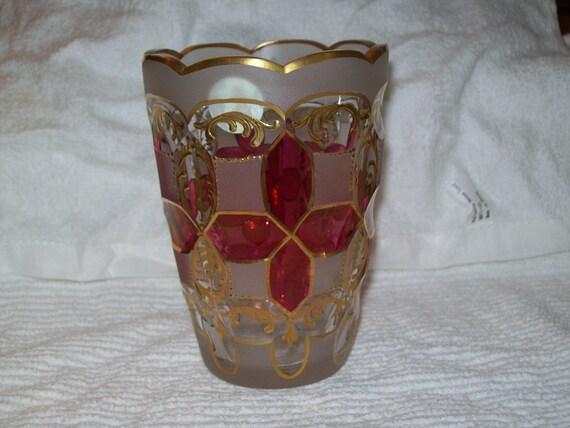 Cranberry Gilded Moser Vase Etsy