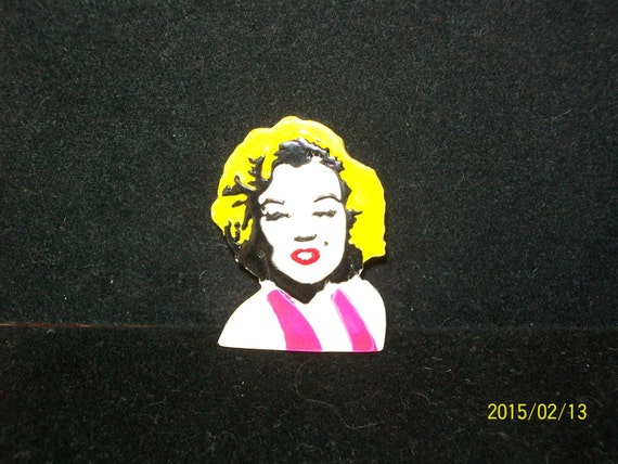 1980s Lucite MARILYN MONROE Pin, Punk Style