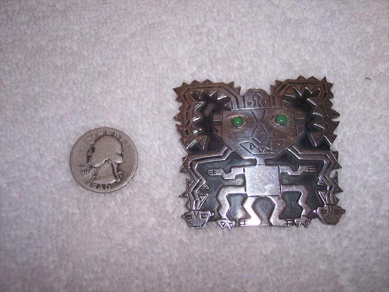 Graziella Laffi Peru Sterling Silver Rare LARGE Snake God pin brooch signed WOW!