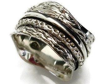 Spinner Ring, Spinning Ring Women, Silver Spin Ring, Meditation Ring, Mens Spinner Ring, Silver Thumb Ring, Wide Thumb Ring,  SP01