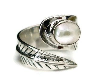 8 Lee Authentic 925 sterling SILVER ring 14 mm Leaf Bague Band Taille J