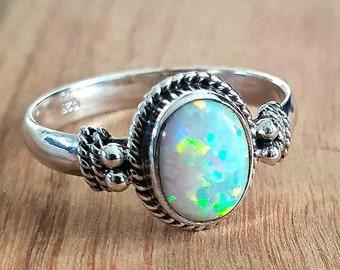 Size 7 8 Sterling Silver Fire Opal Ring Dainty Petite Aura Crystal Ring Hippie Bohemian Boho Energy Birthstone Green Ethiopian Opal Ring