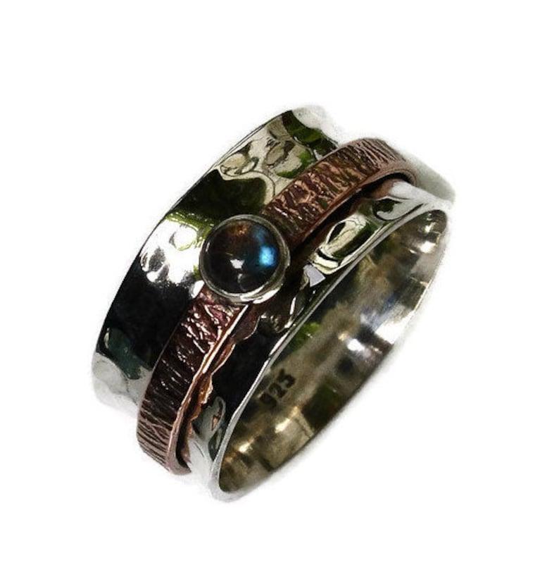 Gemstone Wedding Band Two Tone Fidget Ring Unusual Gemstone Spinner Ring SP76CLAB Labradorite Spinner Ring SilverCopper Mistry Gems