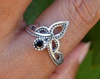 Facetted Black Onyx Ring, Crown Ring, Silver Ring Women, Boho Ring, Black Gemstone, Midi Ring, Thumb Ring, Solitaire, Mistry Gems, R188O