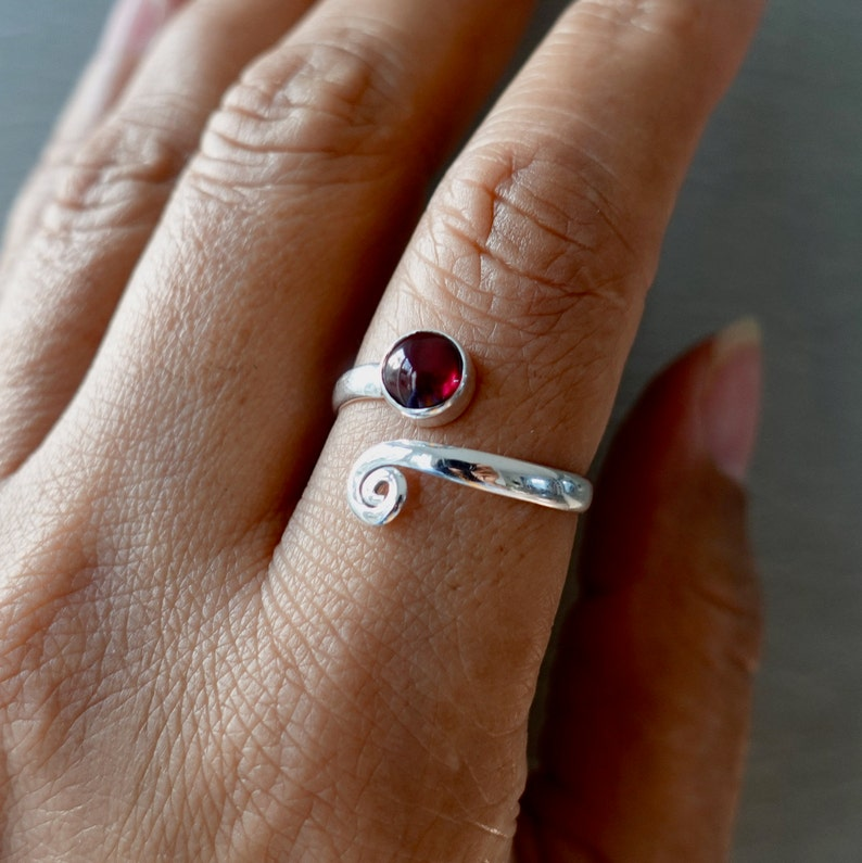 Garnet Ring R61G Thumb Ring Snake Ring Mistry Gems January Birthstone Adjustable Ring Sterling Silver Ring Spiral Ring Wrap Ring
