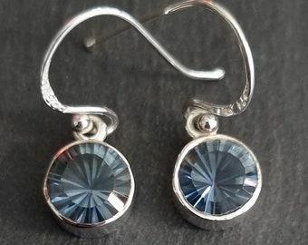 Blue Mystic Topaz Earrings, Facetted Round 925 Sterling Silver Earrings, Indigo Gemstone, Wedding Jewellery, Mistry Gems, BMTE2