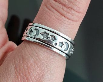 Star and Moon Spinner Ring, Unisex 925 Sterling Silver Spinning Ring, Celestial Silver Ring, Thumb Ring, Narrow Spin Ring, Mistry Gems, SP03