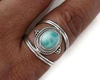 Larimar Ring, Silver Boho Ring, Silver Nepali Ring, Caribbean Stone, Silver Long Ring, Blue Gemstone Ring, Boho Jewellery, Mistry Gems, R29L