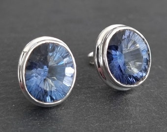 Blue Mystic Topaz Stud Earrings, Large Oval Facetted 925 Sterling Silver, Push Back, Indigo Gemstone, Wedding Jewellery, Mistry Gems, BMTS1