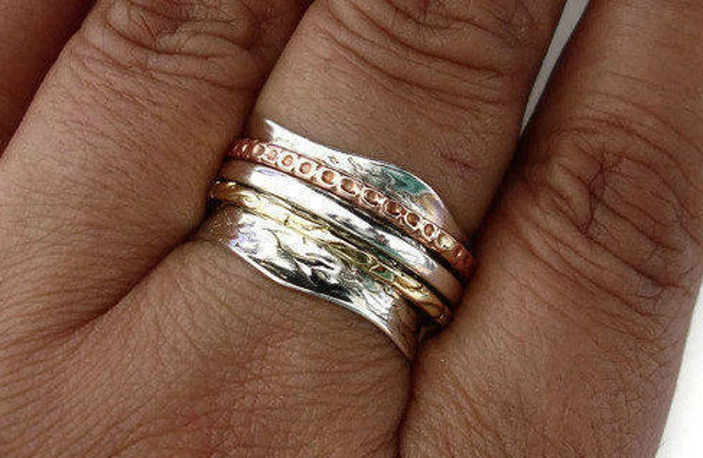 Spinner Ring Wavy Hammered Oxidised with Silver Copper Brass Rings Meditation Ring Mistry Gems,SP01BCS Hammered Silver Ring Worry Ring