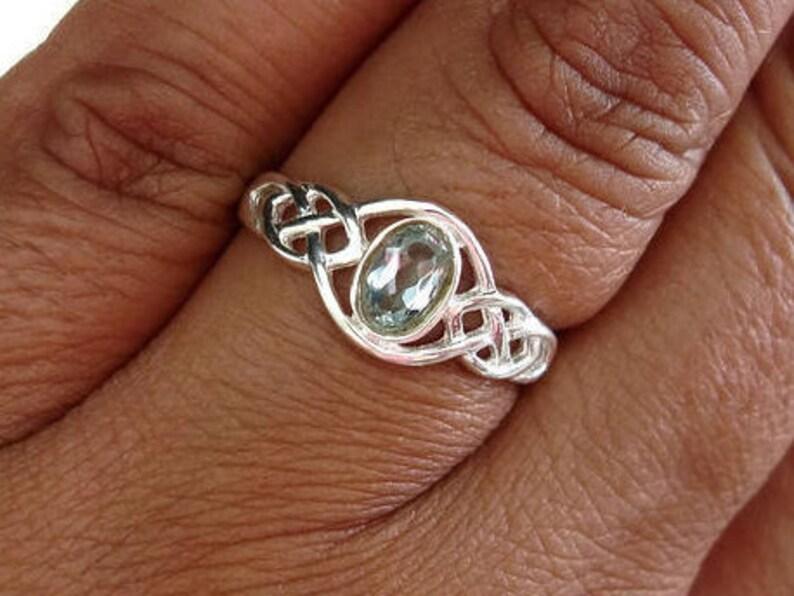 November Birthstone Blue Topaz Celtic Detail Ring Simple Ring R33BT Everyday Ring Mistry Gems Pagan Blue Topaz Ring Celtic Knot Ring