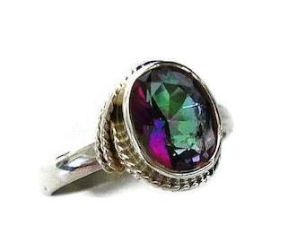 Mystic Topaz Ring, Size US 7, Silver Boho Ring, Silver Topaz Ring, November Birthstone, Solitaire Ring, Gemstone Ring Women,Mistry Gems,R4MT