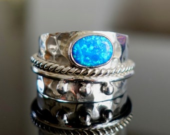 Blue Opal Ring, Wide ALL SILVER Band, October Birthstone Ring, Silver Rings Women, Boho Ring, Wide Thumb Rings, Mistry Gems, R16SBOP
