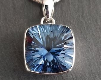 Blue Mystic Topaz Pendant, Facetted Square 16mm x 16mm, 925 Sterling Silver, November Birthstone, Indigo Wedding Pendant, Mistry Gems, BMTP9
