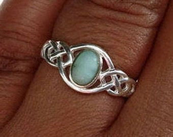 Larimar Ring, Silver Celtic Ring, Caribbean Stone, Celtic Knot Ring, Pagan Ring, Wiccan, Engagement, Silver Boho Ring, Mistry Gems, R33LAR