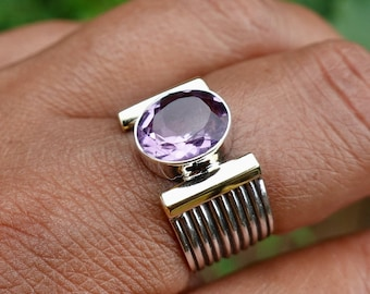 Facetted Amethyst Ring, Gold Vermeil / Oxidised Silver Ring Women, Purple Gemstone, February Birthstone, Engagement Ring, Mistry Gems, R186A
