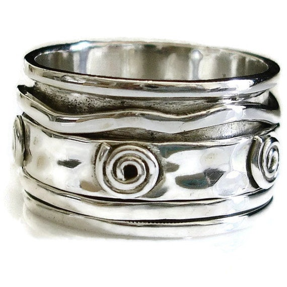 925 Sterling Silver Wide Band Copper Handmade Spinner Ring Jewelry Size-6 B-37
