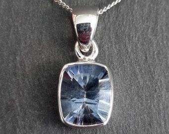 Blue Mystic Topaz Pendant, Facetted Rectangle 12mm x 10mm, 925 Sterling Silver, November Birthstone, Wedding Necklace, Mistry Gems, BMTP7