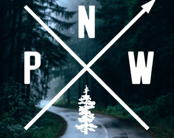 PNW Sticker, Pacific North West Decal, Oregon Sticker, PNW with Real tree, Washington Sticker, Douglas Fir, Gifts for Her, Gifts for Him