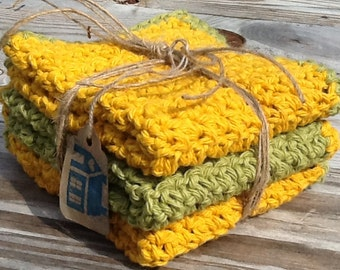 Set of 3 Crocheted Dishcloths/Washcloths