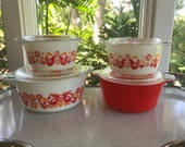 Set of Four Pyrex Friendship Casseroles Dishes with Lids