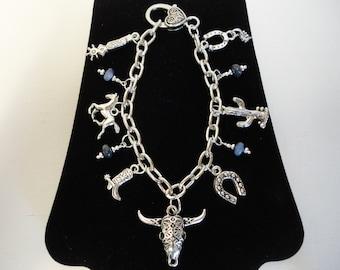 "8"" Silver Western Cowgirl Charm Bracelet w/Royal Blue Stone Beads"