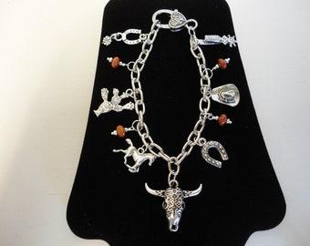 "8"" Silver Western Cowgirl Charm Bracelet w/Red Jasper Stone Beads"