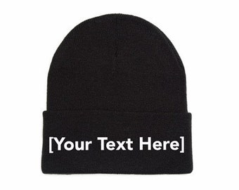 Custom Beanie, Custom Beanies, Custom Embroidered Beanie, Custom Beanie Hat, Black