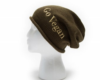 Slouchy Beanie with words Go Vegan Embroidered Beanie Hat