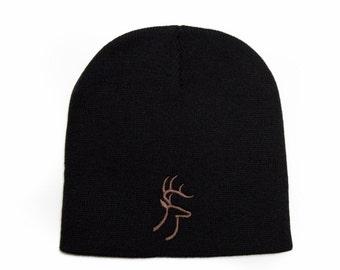 Deer Beanie, Deer Hat, Hunting Gifts For Men, Short Beanie, No Cuff Beanie, Embroidered Beanie