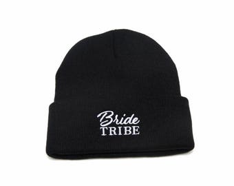 Bride Tribe Beanie, Bride Tribe Hats, Bridal Clothing, Bachelorette Party Hats, Embroidered Beanie, Beanies with Words