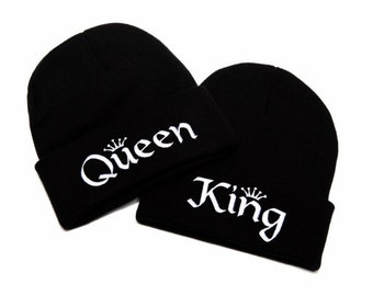 bd7977d73601db KING and QUEEN | King and Queen Beanies | King and Queen Hats | Couple Hats  | Mr and Mrs Hats | Embroidered Beanies | Beanies with Words
