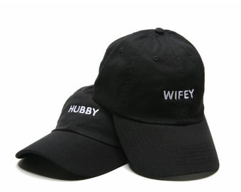 ca64a353 WIFEY HUBBY   Wifey and Hubby Hats   Wifey Hat   Newlywed Gift   Dad Hats    Embroidered Baseball Hats   Adjustable Strap   Low Profile Hats