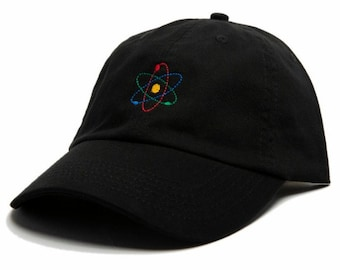 5589ab2013f3b4 ATOM Hat | Atom Baseball Cap | Brain Hat | Physics, Science, Chemistry |  Embroidered Baseball Hat | Adjustable Strap | Low Profile Hat