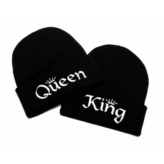 Mr and Mrs Hats King and Queen Hats Beanies with Words King and Queen Beanies KING and QUEEN Embroidered Beanies Couple Hats