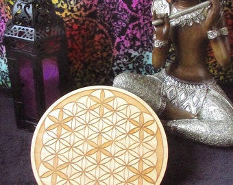 Flower Of Life Wooden Circle Engraved Crystal Grid Plate Metaphysical New Age
