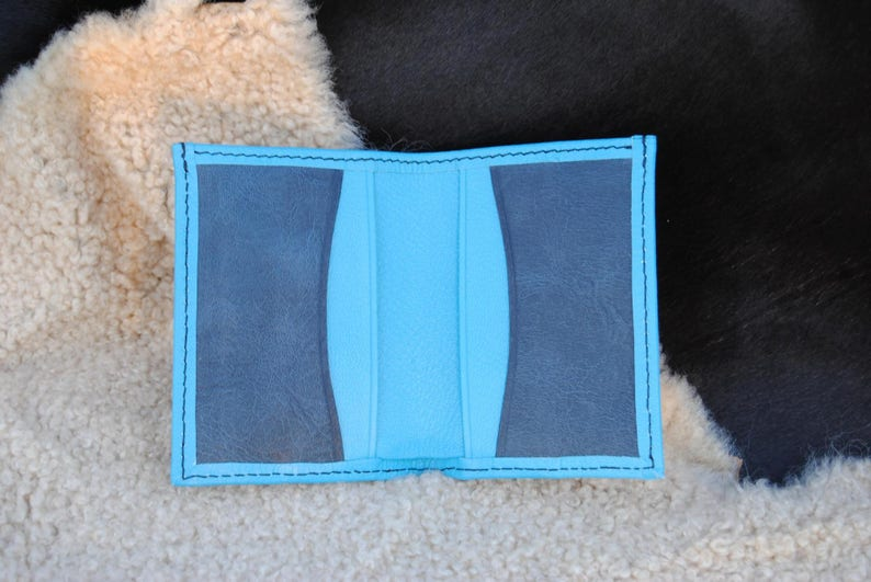 Blue and Navy leather card holder