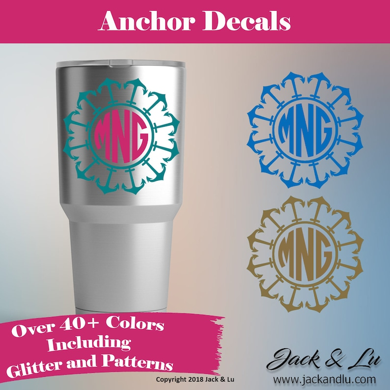 Sea Shell Monogram for Coffee Cups Laptops COLORS Car Window Vinyl Decal Sticker