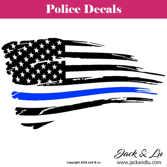 Tattered Thin Blue Line American Flag Police Vinyl Car Window Decals and  Stickers | Back the Blue | Police Support | SuperFAST Shipping!