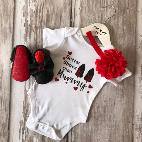 54b189360b7e Red Sole Baby Better Shoes than Mummy Romper Vest   Shoe Set