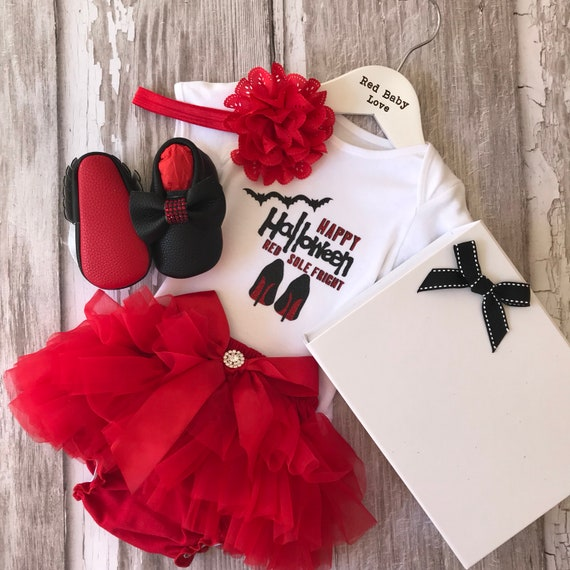 13803771e48b Red Sole Baby Happy Halloween Red Sole Fright Romper Tutu